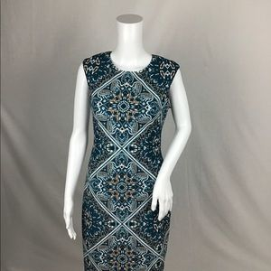 NEW w/ Tags Vince Camuto Teal and Tan Dress Sz 4